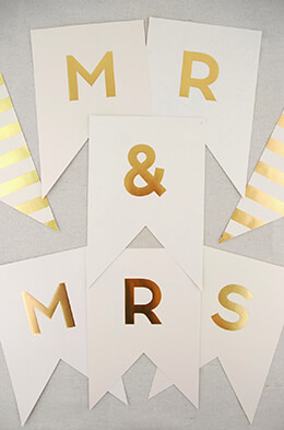 Mr. & Mrs. Banner Ivory and Gold