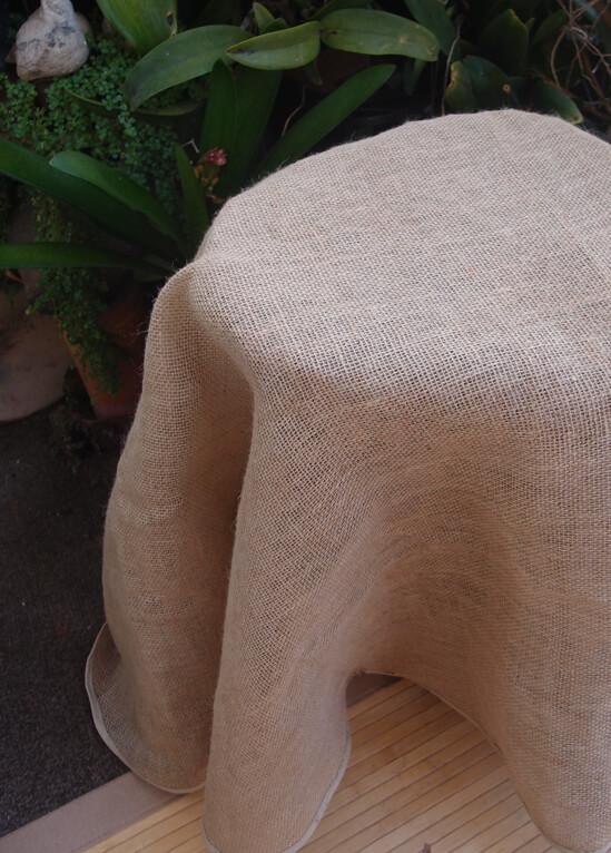 "Round Burlap Tablecloth Finished Edges 60"""