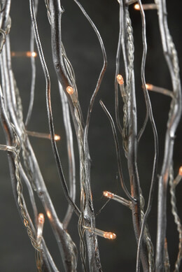 Natural Curly Willow Silver Branches with Rice Lights, 5 Branches