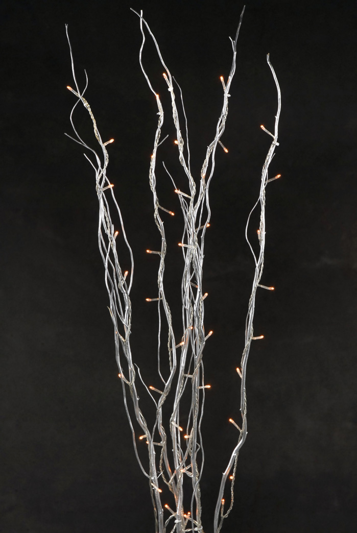 Natural Curly Willow Silver Branches With Rice Lights 5