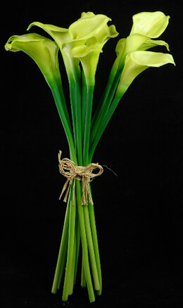 Natural Touch Hand-Tied Green Calla Lily Wedding Bouquet 14""