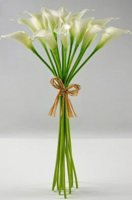 "Mini Real Touch Calla Lily Wedding Bouquet in White -14"" Tall"