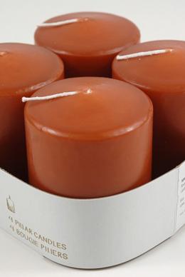 4 Sienna Orange Large 3in Votive Candles