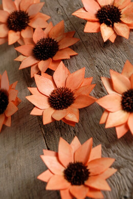 18 Handmade Orange Palm & Thistle Flowers