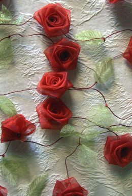 Red Organza Rolled Rose Ribbon with Green Leaves Garland  9 feet