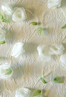 Rolled Organza Ivory Rose Garland Ribbon 9'
