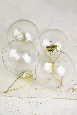 4 Clear Glass 3in Ornament Balls  80mm Gold Tops
