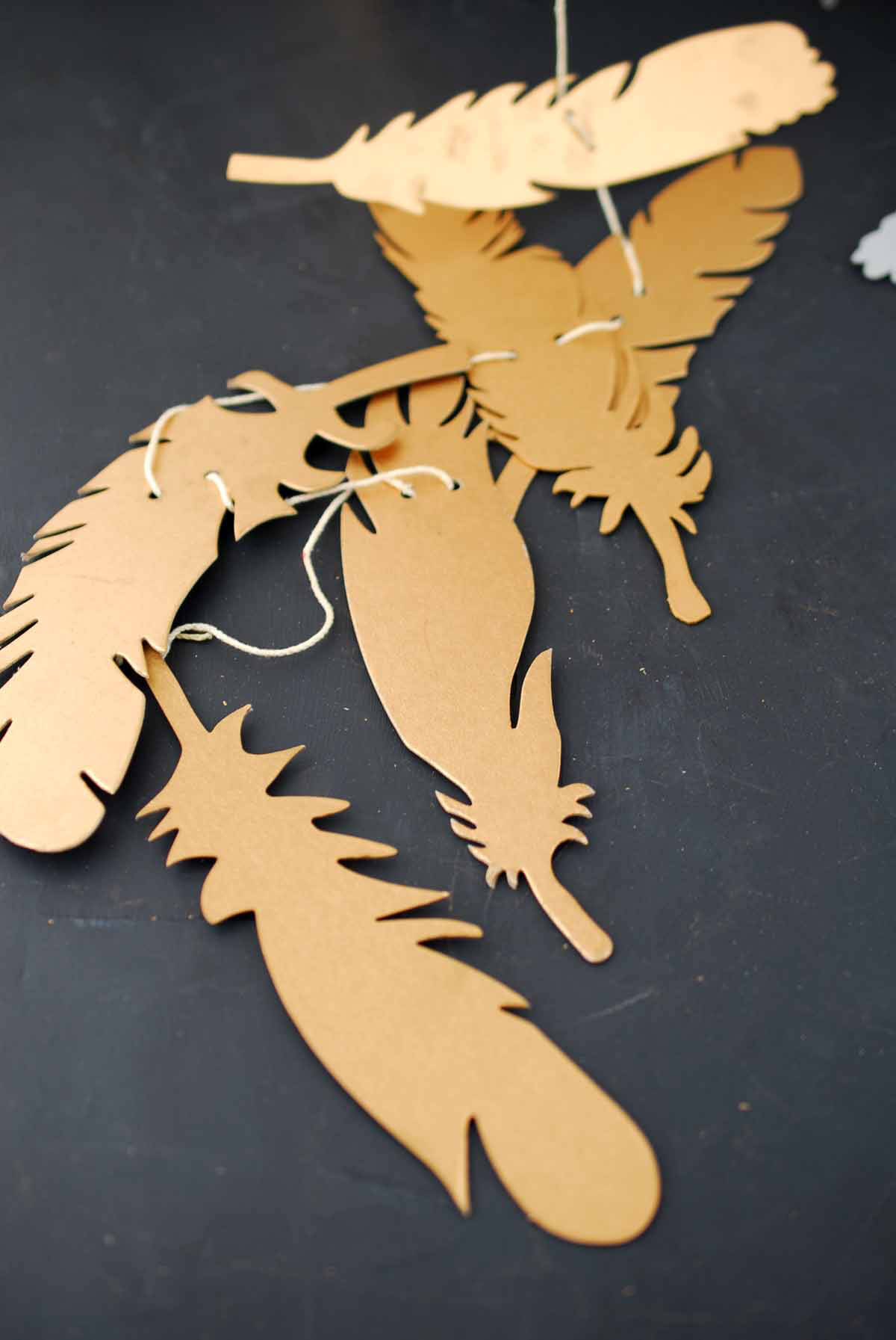 Six 6' Metallic Feather Party Garlands
