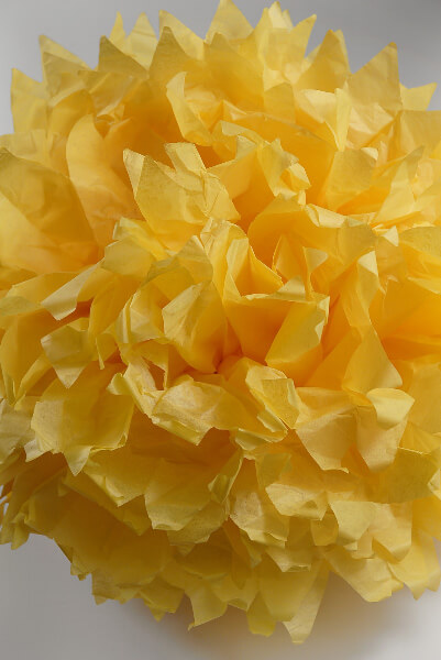 "4 Tissue Paper Pom Poms 16"" Yellow"