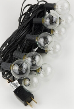 Outdoor Patio String Light Set 10 Socket G40 Clear Globe Bulbs, 31ft Black Cord E12 C7 Base