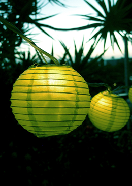 String Lights, 4 inch Round Paper Lanterns, 8.3 feet, Light Lime