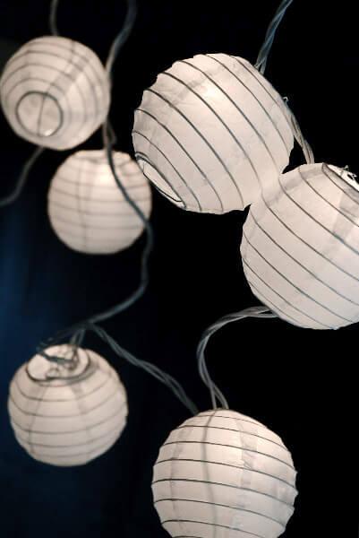 "10 Lantern White 4"" Paper Lantern String Light Set  11 Feet, End to End"