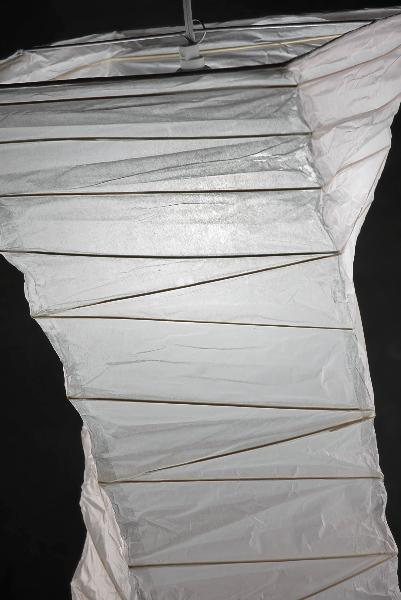 "40"" Rice Paper & Bamboo Lantern Twisted Helix WHITE 13""Square"