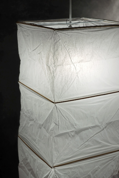 "Rice Paper & Bamboo 45"" Lantern  WHITE, Extra Long 12x12 Square"
