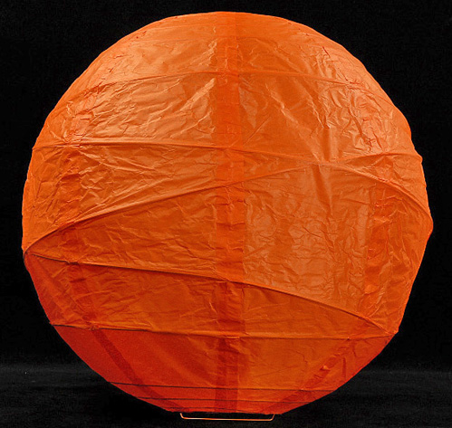 12 Quot Orange Paper Lanterns Bamboo Ribbing