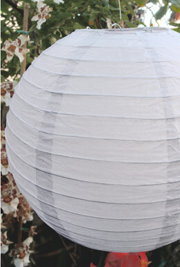 "12"" White Round Paper Lanterns  Set of 10"