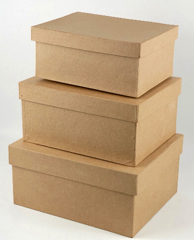 Paper mache boxes set of 3 for Craft paper mache boxes