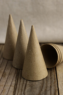 36 Small Paper Mache Cones 4 x 2in