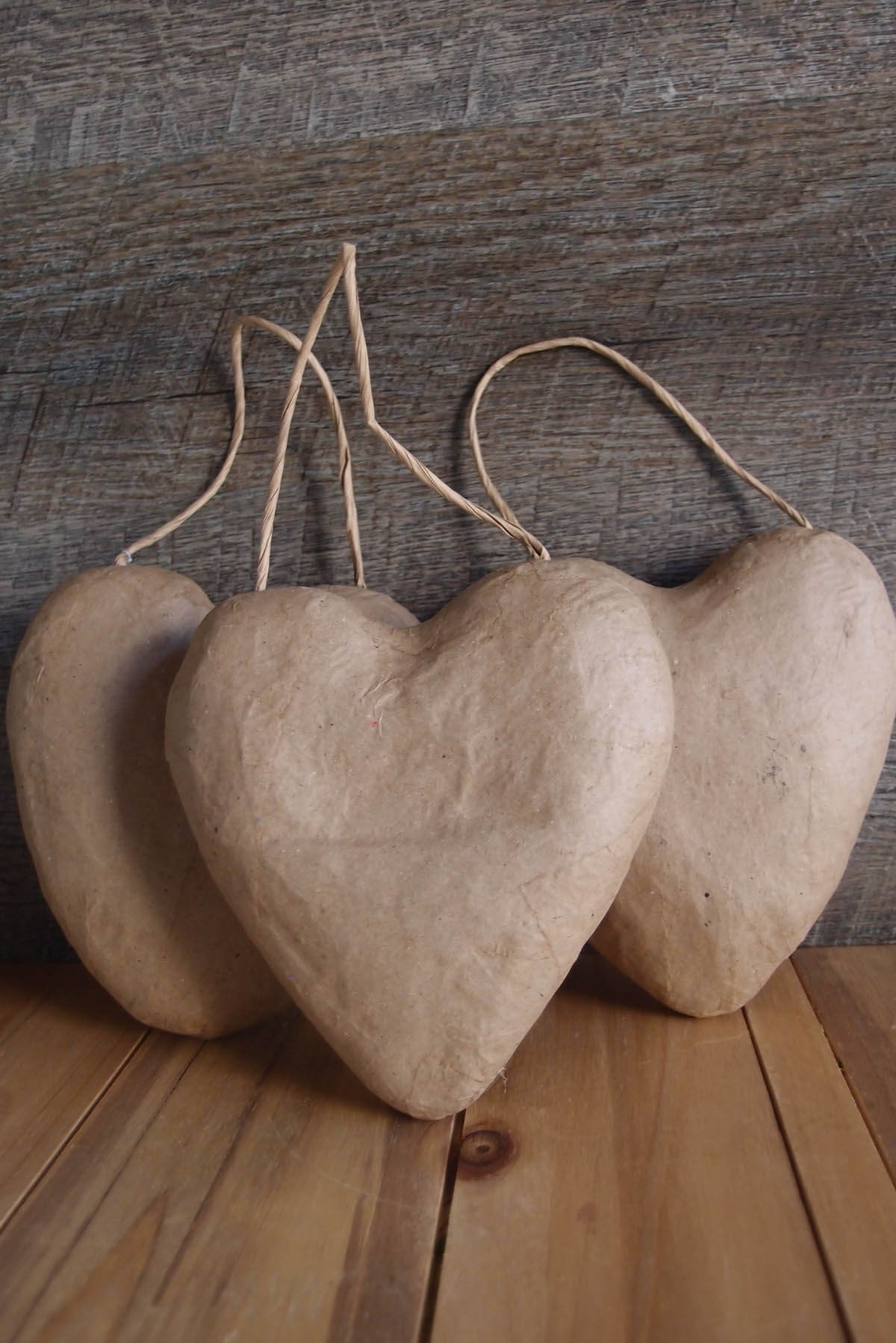 Paper Mache Puffy Heart With String 5 Quot 3 Pack