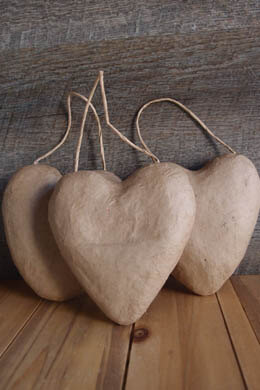 "Paper Mache Puffy Heart with String 5""  (3-Pack)"