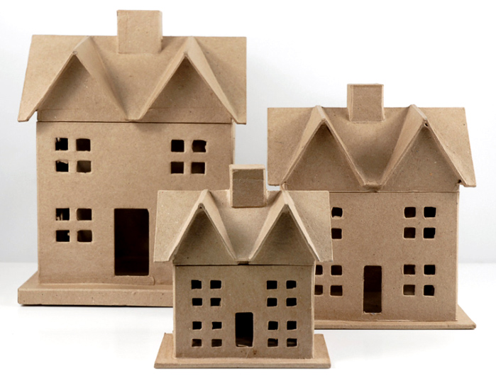 """Paper Mache Houses Set of Three 12.5"""" , 8"""" and 6"""""""