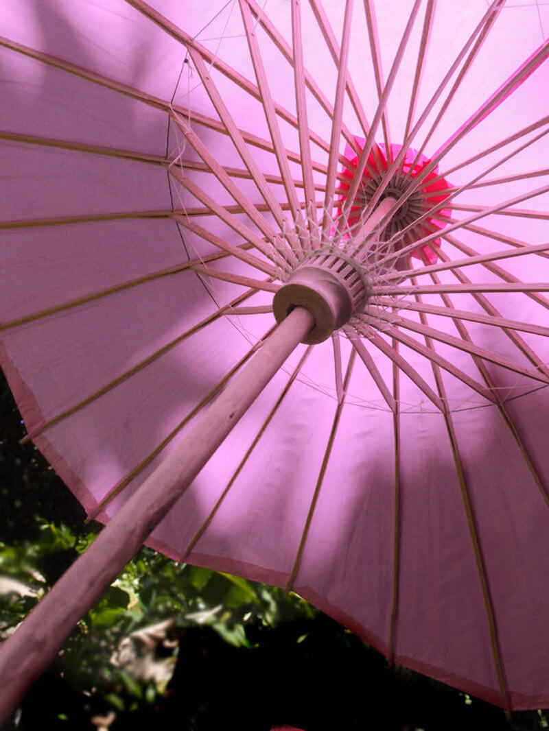 Large Pink Paper Amp Bamboo Parasol Pink 32in