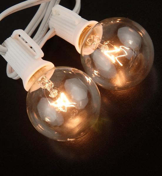 Globe Lights 40 5ft String Lights White Cord 10 G40 C7 Bulbs