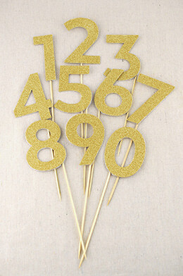Party Picks Gold Glitter Numbers 0-9