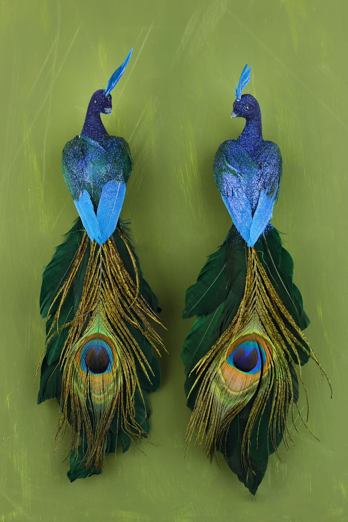 Blue peacock birds set of two 11 - Outdoor peacock decorations ...