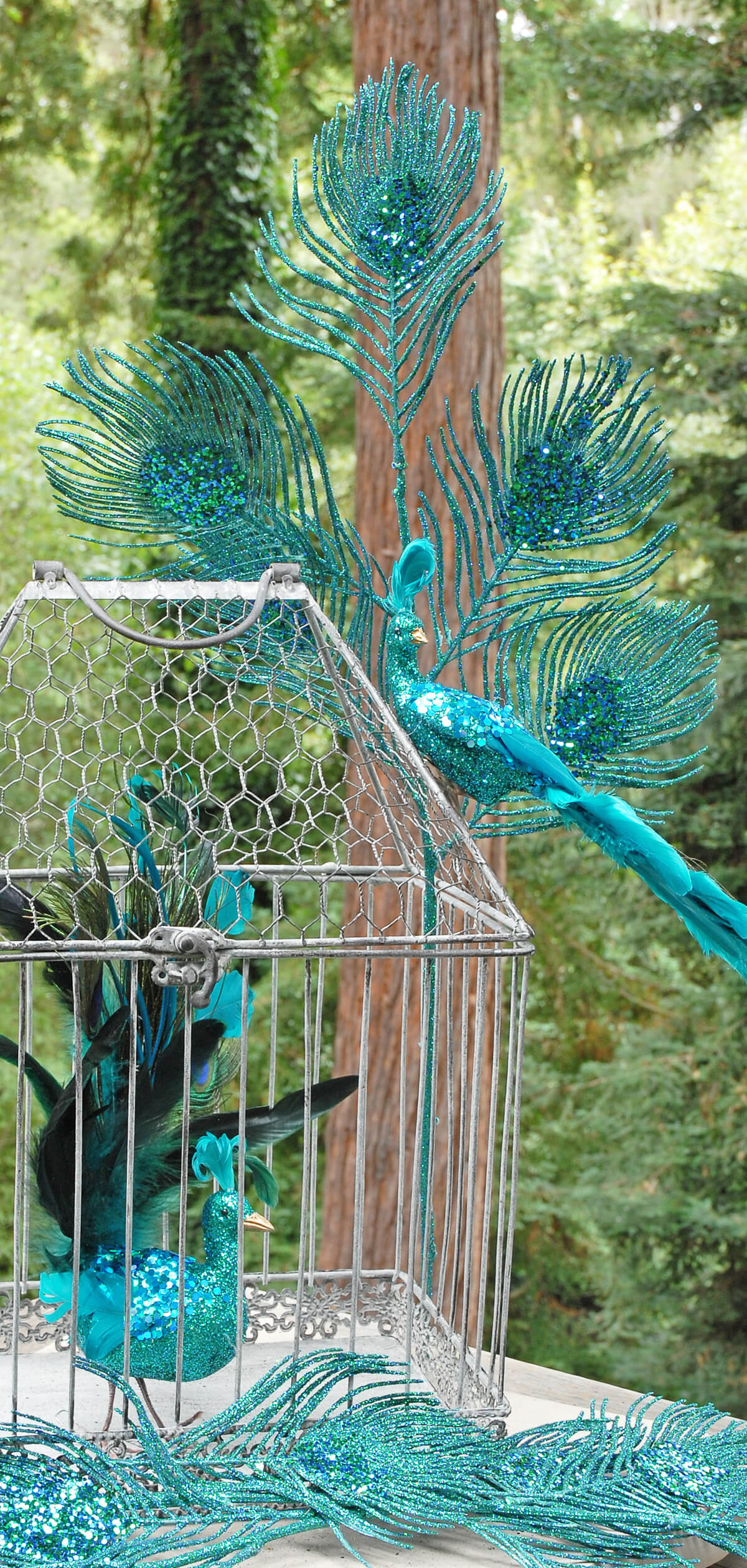 Peacock Feather Spray Glitter Teal 30in