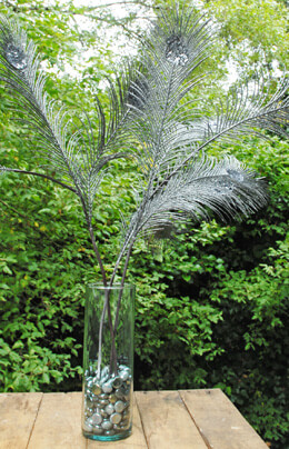 3 Silver Glittered Tall Peacock Feathers Silver 41in