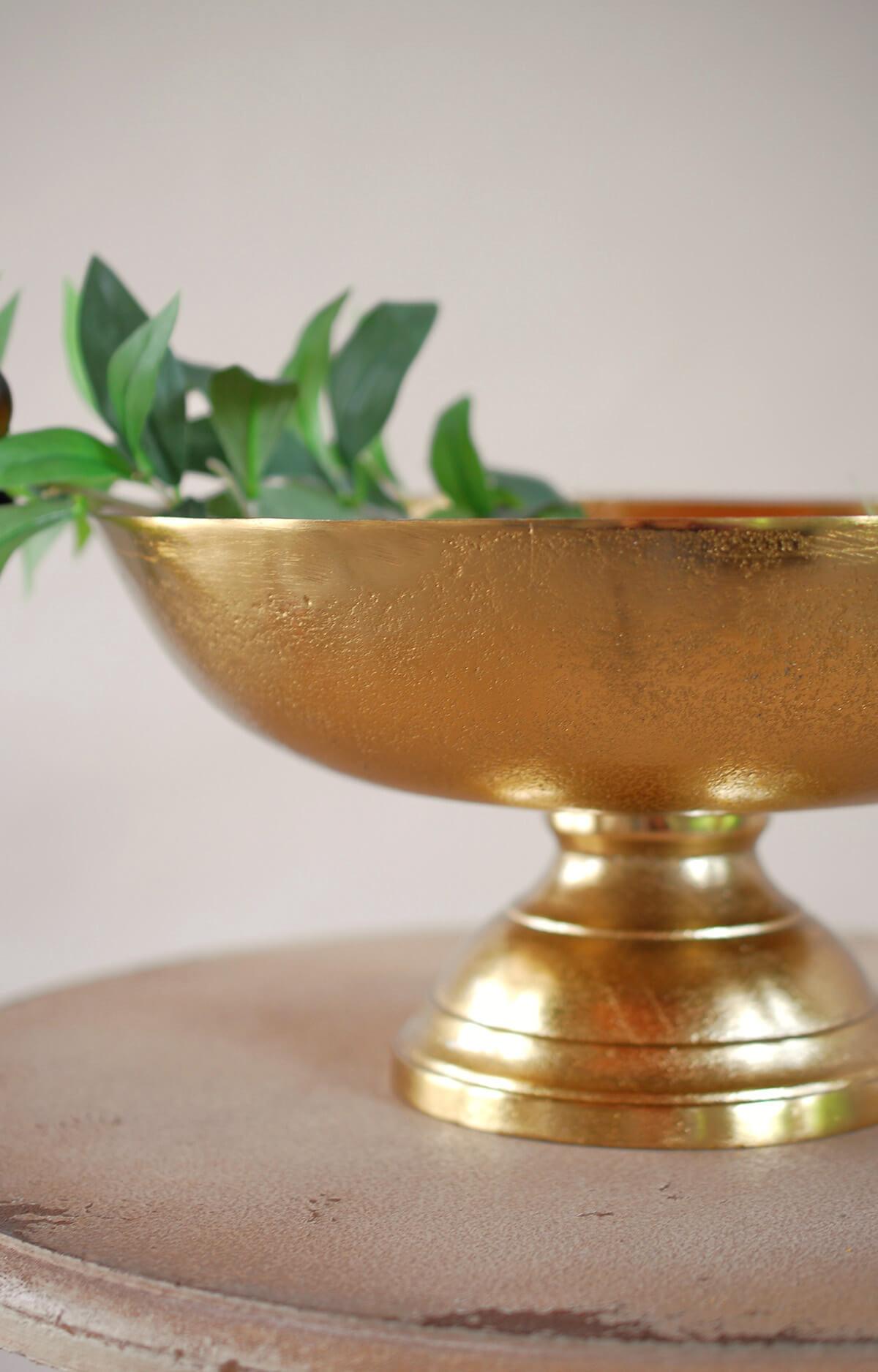 Pedestal Bowl Gold 12x6in