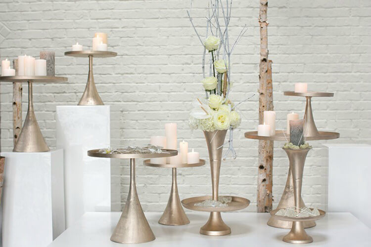 "Champagne Meryl Pedestal Cake Stand & Vase  16"""