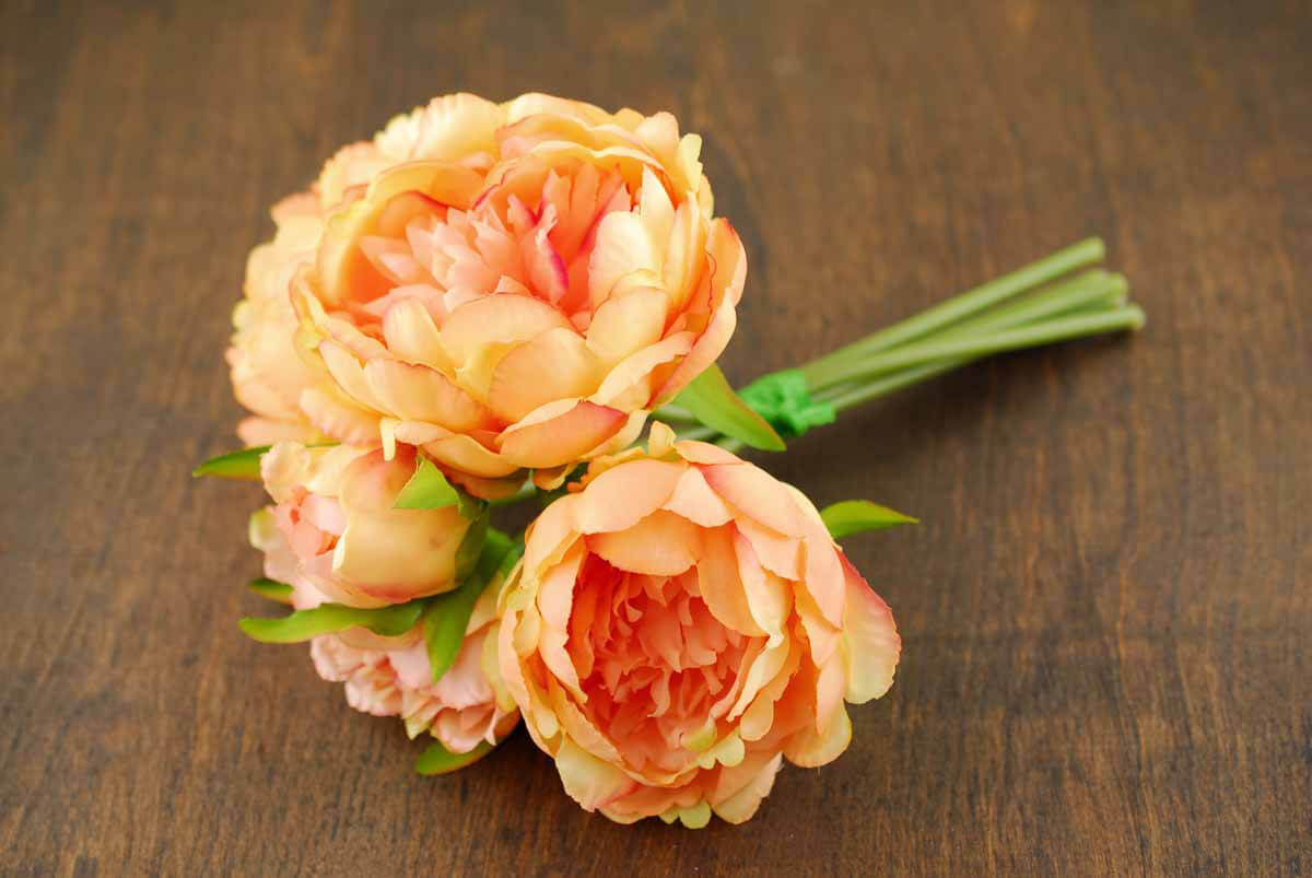 Coral Orange Peony Bouquet