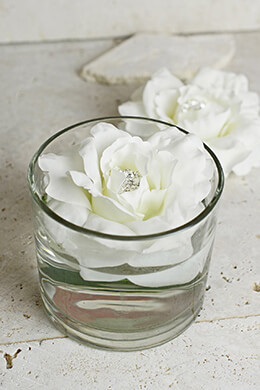 2 White Silk Jeweled Floating Peony Flowers