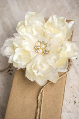 Bridal Peony Flower Jeweled Hair Clip &  Pin