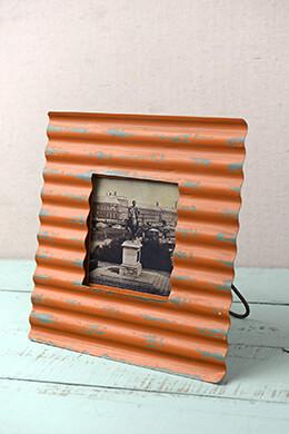 Tangerine Metal Corrugated Frame