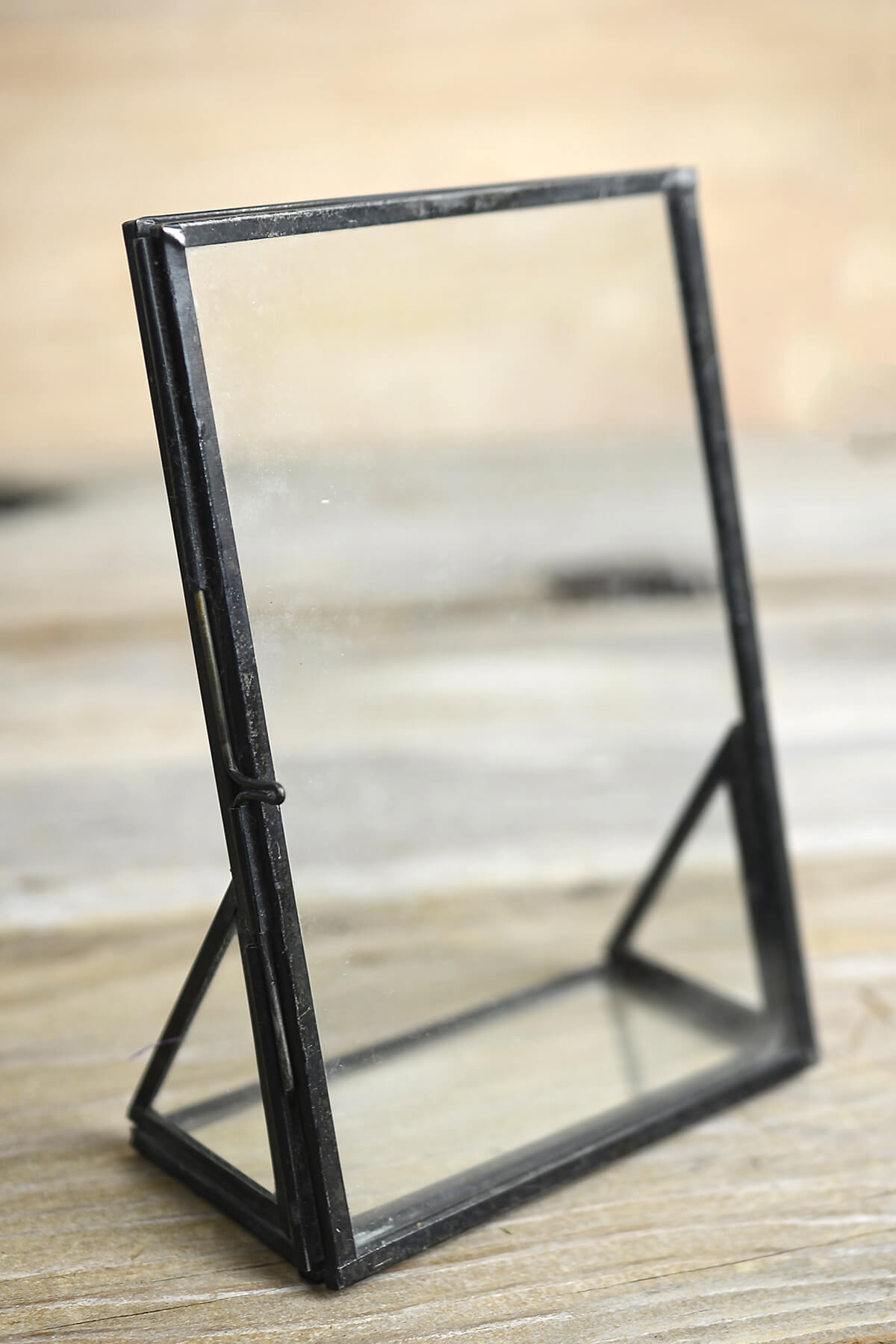 "Standing Metal Double Glass Frame 5"" x 2.25"" x 6.75"""