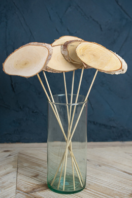 """6 Natural Birch Oval Table Number Picks 14"""""""