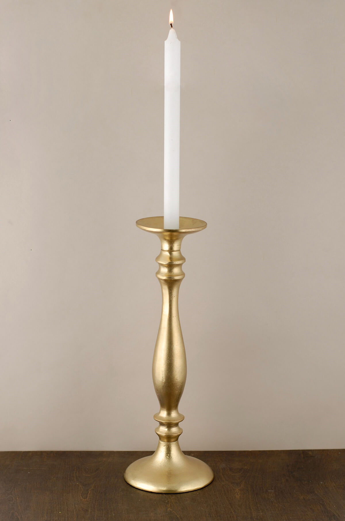 Pillar Candle Holder Gold 15 5in