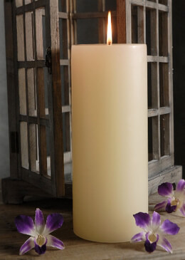 Pillar Candles 12in Ivory Unscented