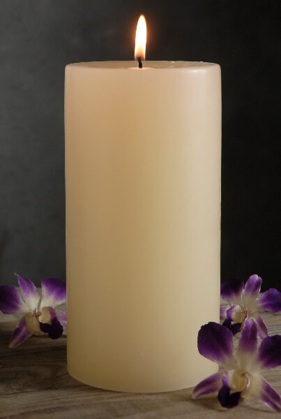 Pillar Candles Ivory 4in x 9in Unscented