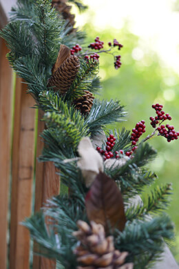 Pine, Pine Cone, Berry Christmas Garland with Burlap Bows 6ft