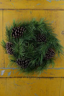 "Long Needle Pine Wreath with Pine Cones 24"""