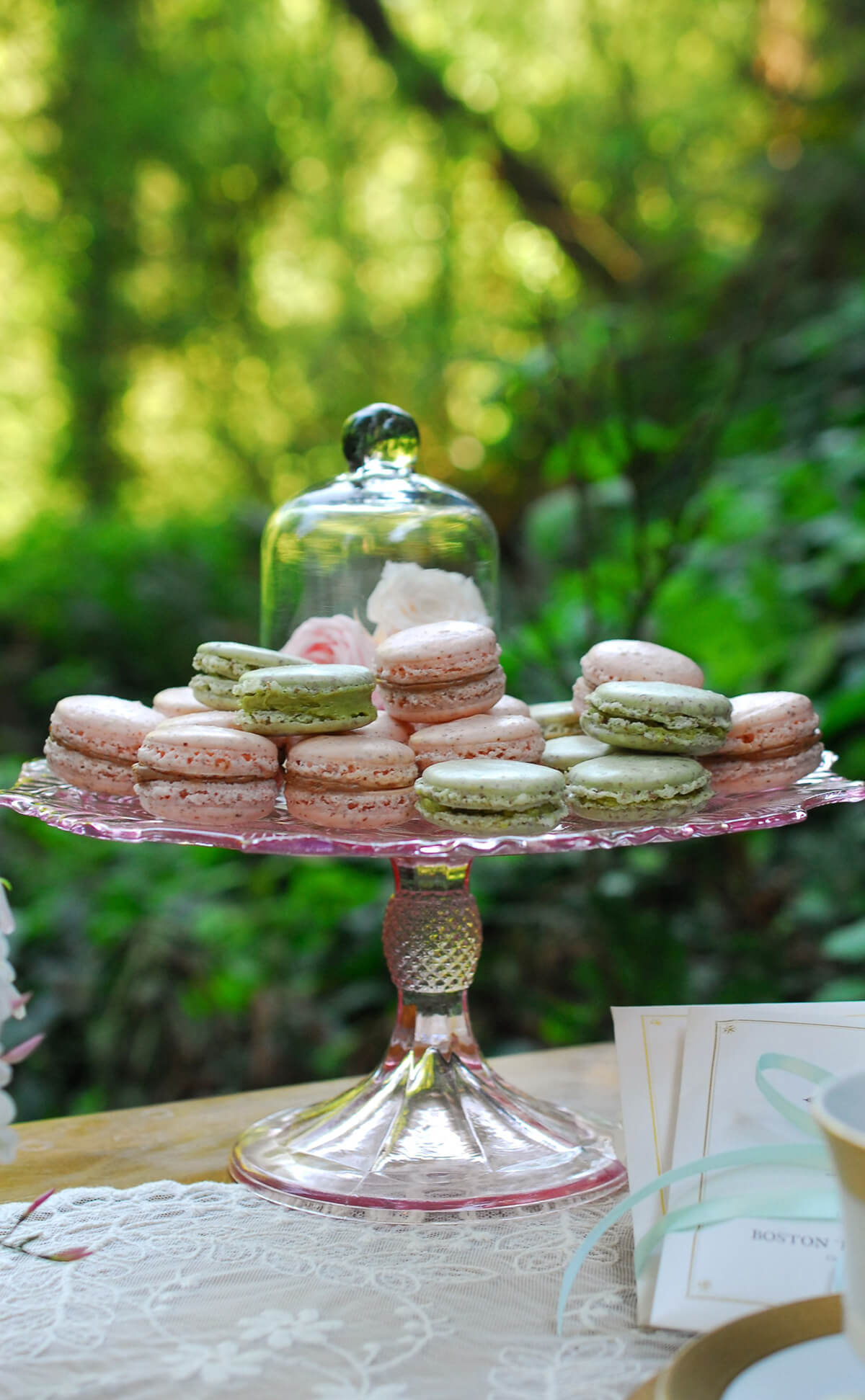 Pink Glass Pedestal Cake Stand Pink 9in