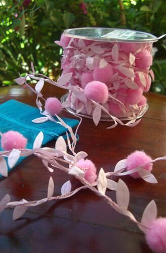 Wired Pink Pom Pom & Leaf Garland Ribbon  11 yds