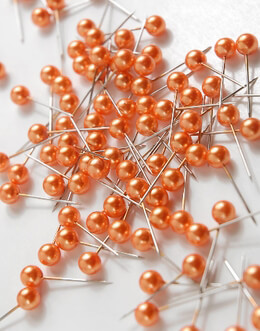 Orange Pearl Top Pixie Pins  (Pack of 100)