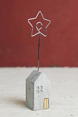 Cement Mini House Place Card Holder