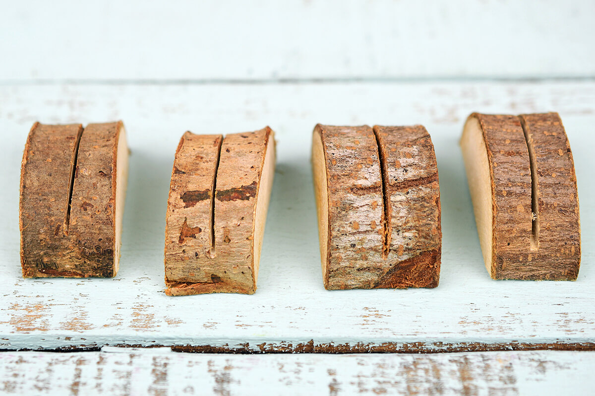 24 Wood Place Card Holders with Bark 2 Inch
