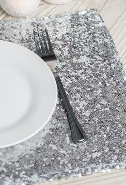 Silver Sequin Placemats 17x12in
